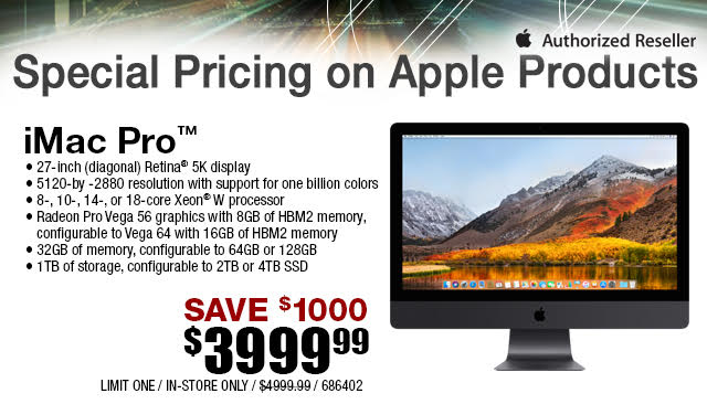 iMac Pro is $1,000 Off at Micro Center Stores, Now $3,999 While Supplies Last imac-pro-is-1000-off-at-micro-center-stores-now-3999-while-supplies-last