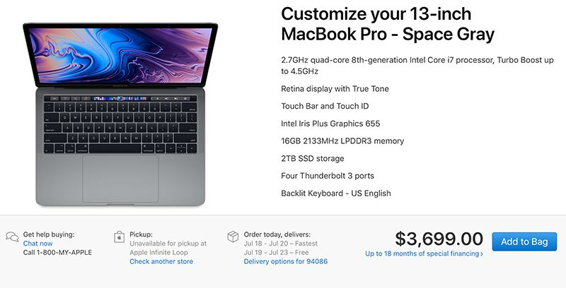 Maxed Out 15-Inch MacBook Pro Priced at $6,699 for 2.9GHz Chip, 32GB RAM and 4TB SSD 1531417805_278_maxed-out-15-inch-macbook-pro-priced-at-6699-for-2-9ghz-chip-32gb-ram-and-4tb-ssd
